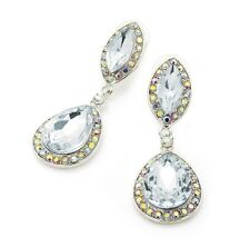 AB Crystal Drop Clear Earrings Bridal Prom Jewellery