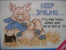 Keep Smiling People Wonder What You're Up To Cross Stitch Kit w/ Frame Pig Tales