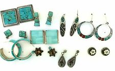 Native Sterling Silver Turquoise Coral Inlay Hip Hoops 10 Ten Earrings MIXED LOT