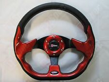 D1 RACE FLAT 320mm D STYLE PU LEATHER STEERING WHEEL RED fit OMP NARDI SPARCO