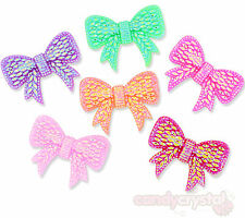4 x LARGE Bright Sparkle Bow Flat Back Cabochons Embellishments Decoden Kawaii