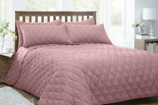 DOUBLE BED QUILTED THROW OVER BEDSPREAD SET DEVON PINK SALMON DUSKY