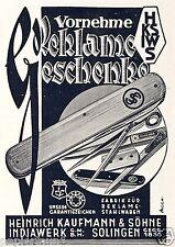 Taschenmesser Kaufmann Solingen Indiawerk Reklame 1935 Geschenke Messer Werbung