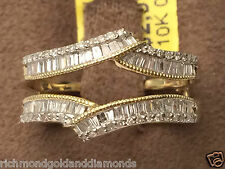Yellow Gold Baguette N Round Diamonds Ring Guard Wrap Solitaire Enhancer 0.50ct