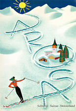 Arosa - Switzerland  Ski Travel  Vacation A3 Art Poster Print