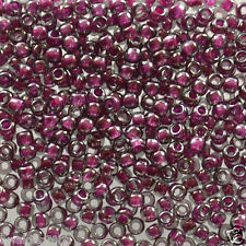 10 grams Toho Round Seed Beads 8/0 - #1076 - Inside Color Grey/Magenta Lined
