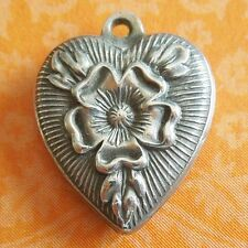 Vintage 1940s TUDOR ROSE REPOUSSE PUFFY HEART Sterling Silver Charm JULIA