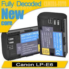 2XFully decoded Battery for Canon LP-E6 LP-E6N 70D 7D 60D 5D Mark II III 6D 60Da