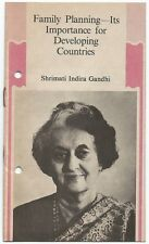 Family Planning importance for developing countries leaflet Indira Gandhi India