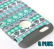 For iPhone 6+ / 6S+ Plus - HARD&SOFT RUBBER HYBRID CASE TEAL GREEN GRAY AZTEC
