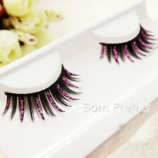 New Party Fancy Soft Long Feather Black Pink Make up False Eyelashes Eye Lashes