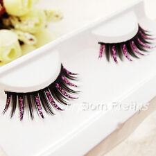 New Party Fancy Soft Long Feather Black Pink Make up False Eyelashes Eye Lashes