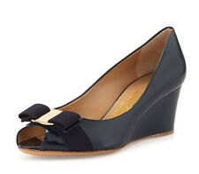 Salvatore Ferragamo Sissi Mid Heel Peep Toe Wedge Logo Pump Oxford Blue Size 6 B