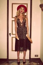 FOR LOVE AND LEMONS FREE PEOPLE MON CHERI MIDI DRESS BAROQUE BLACK LACE $306 S