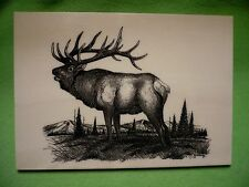 Artist Jim Borgreen 1988 Elk etching on cultured marble plaque. Made in MONTANA.
