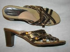 39 8.5 Ladies Helle Romus Shoes Sandals Strappy Metallic Gold Silver Heels SPAIN