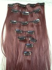 "cherry red 7 pcs set straight 20"" long clip in on hair extension heat resist"