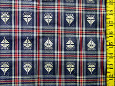 WHITE SAILBOATS ON BLUE & RED PLAID 100% COTTON FABRIC 27X43 INCHES