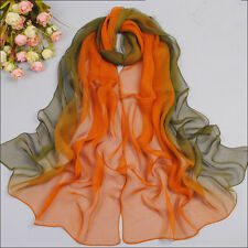New Two-tone Warm Soft Pashmina Women Scarf Orange/Green FREE SHIPPING