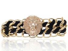 New Golden Lion Face Small Chain Link  Black Ribbon Cuff Vogue Bracelet