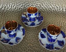 SET OF 3 SMALL MOCCA  CUPS & SAUCERS DUCA DI BAVARIA COBALT BLUE/GOLD TRIM