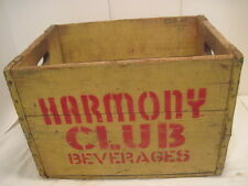 B OLD VINTAGE WOOD-WOODEN HARMONY BEVERAGE ADVERTISING CARRIER BOX CRATE