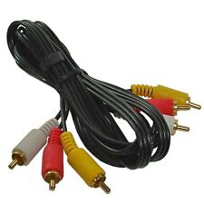 6FT TRIPLE 3 RCA AV AUDIO VIDEO CABLE CORD TV DVD VCR