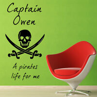 **CHILD'S NAME PIRATES - Wall Quote Sticker / Decal PERSONALISED WALL ART