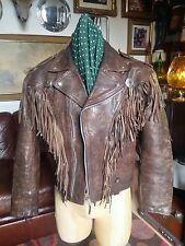 Vintage 80's Glam Calfskin Leather Western Fringed Motorcycle Biker.Medium-Large