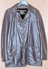 Mens Size 42 Tall Vintage Montgomery Ward Leather Car Coat Jacket Brown Large L
