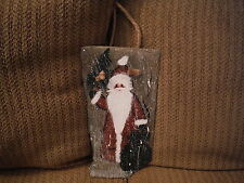 """Handpainted 14"""" x 7.25"""" SANTA with Toy Bag Hanging Slate Sign Wall Plaque"""