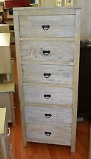 Rustic Mango wood  Timber wood chest of drawers tall boy with metal runners