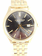 Bulova Caravelle Mens Gold Tone Stainless Steel Watch Black Dial  44B105 New