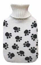 Roll Neck Knitted Cover Paw Print Design 2 Litre Hot Water Bottle & Cover