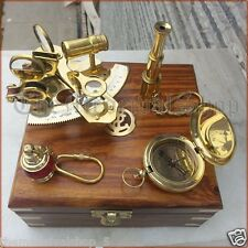SOLID BRASS COLLECTIBLE NAUTICAL SEXTANT COMPASS TELESCOPE MARITIME VINTAGE GIFT