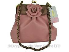 NEW Ladies Quality ROSE Handbag by Faye London Clutch Cross Body Shoulder Chain