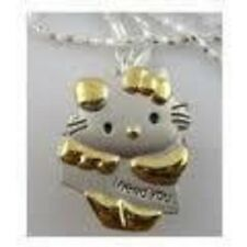 SILVER & GOLD HELLO KITTY NECKLACE LOCKET  WATCH - I NEED YOU -- UK SELLER-NEW