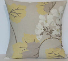 "Laura Ashley Millwood Yellow Leaf Cotton/Linen Beige 16"" Cushion Cover"