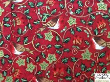 RPB325 Robin Red Breast Song Bird Floral Holly Ivy Winter Cotton Quilt Fabric