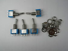 SU 50 pieces Toggle Switch SPDT on/off 2 position, mini blue MTS102E Leda