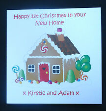PERSONALISED FIRST CHRISTMAS IN YOUR NEW HOME GINGERBREAD HOUSE CARD