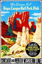 Bryce Canyon National Park Utah Vintage Railroad Travel Advertisement Poster