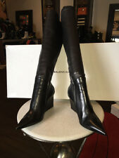 Balenciaga 39 Black Stretch Leather Wedge Boots - NIB Runway 2014