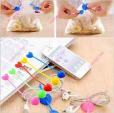2x Quality Silicone Food Bag Sealing Clips Love Heart Beam Port Cable Tie YCAD