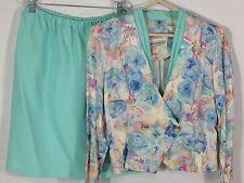 Vintage PABLO COLLECTION Skirt Jacket Suit Blazer Set Pink White Women's 10P