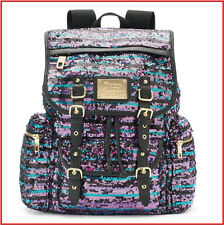 Juicy Couture Designer PURPLE BLACK BLUE SEQUIN Large Backpack - Purse Tote =NEW