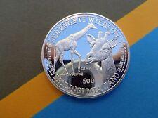 1998 GIRAFFE Tanzania Wildlife series 500 shilling coin .999 fine silver