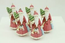 Vintage Applause Pink Santa Christmas Ornament Holiday Tree Decoration Lot