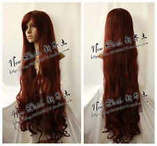 Maiden Long Brown Red Cosplay Curly Wig 100cm + Free wigs cap