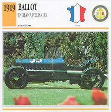 1919 BALLOT Indianapolis Racing Classic Car Photo/Info Maxi Card